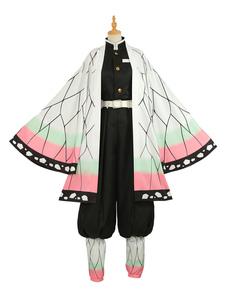 Costume Carnevale Uccisore di demoni Kochou Shinobu Cosplay: Kimetsu No Yaiba Kimono Set