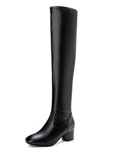 """Женские сапоги до колен Черный квадратный носок 2,2 """"Зимние сапоги на каблуке"""