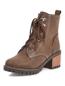 """أحذية الكاحل المرأة جولة تو 2.4 """"كعب مكتنزة مارتن الأحذية"""