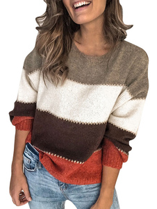 Pulôveres Sweater Mulheres Color Block Jewel Neck mangas compridas Jumper Knitwear