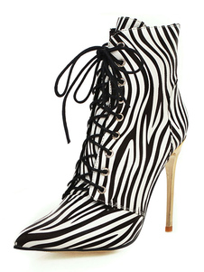 "Botas de tornozelo para mulheres Zebra Print Stiletto Heel Pointed Toe 3.9 ""Boots"