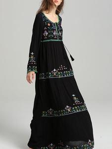 Vestido Boho Vestido de verano de manga larga con cuello de joya bordado