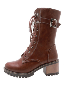 "Mulheres Marten Boots Mahogany Buckle Lace Up 2,4 ""Block Heel Boots"