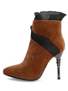 """Botas de tornozelo de mulheres camurça dedo apontado salto stiletto 4.3 """"botas modernas"""