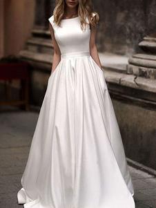 Vestidos de novia sencillos de línea A Vestidos de novia Blanco Boda sin mangas cintura natural con faja Tela Satén con escote redondo Cremallera