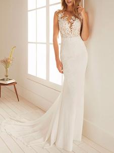 Vestidos de novia sencillos de silueta sirena Vestidos de novia Marfil Boda sin mangas cintura natural con botones de chifón con escote redondo