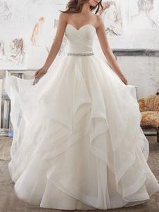Vestidos de novia 2020 Vestido de fiesta Novio Sin mangas Hasta el suelo Bajo asimétrico Tul Vestido de novia con cola larga