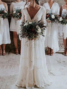 Vestidos De Noiva Boho 2020 Linha A Profunda Decote Em V Multicamadas Rendas Chiffon Praia Vestido De Festa Vestidos De Noiva