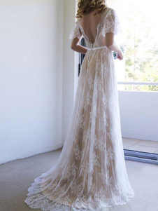 Vestido de novia simple 2020 Cuello en V Una línea de manga corta V profundo Sin respaldo Vestidos de novia de encaje