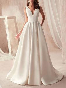 Винтажное свадебное платье атласное V-образным вырезом без рукавов A Line Традиционные свадебные платья с шлейфом