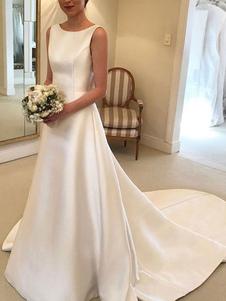 Vestidos de novia sencillos de línea A Vestidos de novia Marfil Boda sin mangas cintura natural con lazo Tela Satén con escote redondo Sin espalda