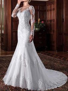 Свадебные платья с длинными рукавами Кружева 30см Свадебные платья с шлейфом