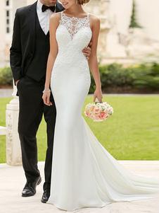 Простое свадебное платье из лайкры с квадратным вырезом без рукавов с кружевами Русалка свадебное платье