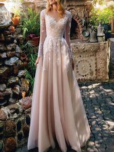 Простое свадебное платье Тюль Иллюзия декольте Длинные рукава Кнопки A Line Свадебные платья с шлейфом