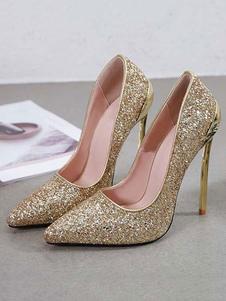 Zapatos de fiesta de tacones altos para mujer Zapatos de noche con lentejuelas rubias en punta