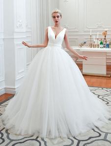 Vestido de novia de la princesa 2020 Vestido de baile Cuello en V Sin mangas Cintura natural Corte Corte Vestidos de novia