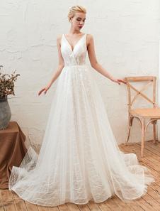 Vestido de novia 2020 Cuello en V Una línea Hasta el suelo Encaje Apliques Tul Vestidos de novia