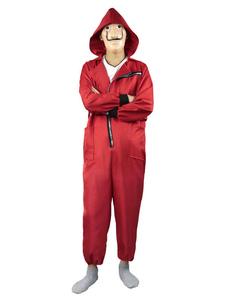 Carnaval La Casa De Papel Money Heist Disfraz Rojo Salvador Dalí Jumpsuit Mono con cremallera 2020