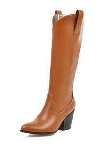 Botas hasta la rodilla de PU Botas altas mujer de puntera puntiaguada Marrón 8cm de tacón gordo Color liso Primavera Otoño slip-on