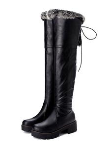 إمرأة فوق الركبة أحذية كتلة سوداء كعب جولة تو أحذية الشتاء