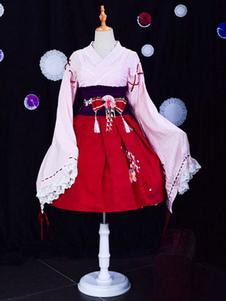 Wa Lolita OP Dress Сакура с принтом и оборкой с бантом Розовое кимоно Лолита One Piece Dress