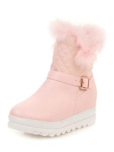 الحلو لوليتا أحذية الكاحل الماس نمط فروي PU جولة تو أحذية الوردي لوليتا الثلوج