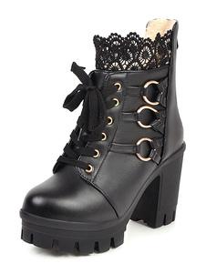 Stivali Sweet Lolita Calzature Lolita tacco grosso in pelle PU con punta tonda in pizzo nero