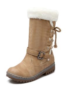 Stivali da neve da donna Stivali al polpaccio Stivali piatti con fibbia a punta tonda