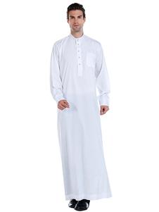 Arabian Abaya Robe Stand Collar Manica lunga Abbigliamento uomo