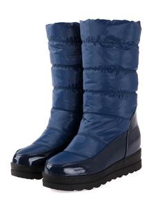 Stivali da neve da donna Stivali al polpaccio Stivali piatti a punta tonda blu scuro