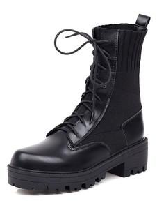 Mulheres Martin botas dedo do pé redondo preto ata acima botas de tornozelo