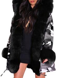 Пуховики Черная молния с капюшоном с длинными рукавами Камуфляж Повседневная зимнее пальто Верхняя одежда