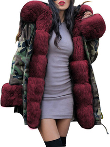 المعاطف البخاخ مقنعين سستة طويلة الأكمام التمويه عارضة معطف الشتاء ملابس خارجية