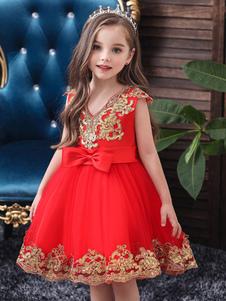 Abiti da ragazza di fiore Scollo a V Tulle Maniche corte Al ginocchio Lunghezza Principessa Silhouette Ricamato Abiti da festa per bambini