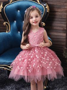 Vestidos da menina de flor Com Decote Em V Tule Sem Mangas Na Altura Do Joelho Princesa Silhueta Flores Crianças Vestidos de Festa Social