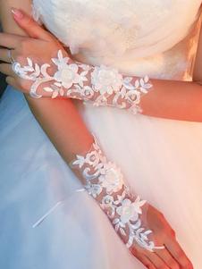 Luvas de casamento Tule Flor de dedo Luvas de noiva em relevo