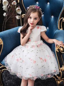 Abiti da ragazza di fiore per bambini Abiti da ricamo al ginocchio principessa