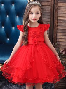 Abiti da ragazza di fiore Abiti gioiello Collo a maniche corte Fiori Abiti da festa per bambini
