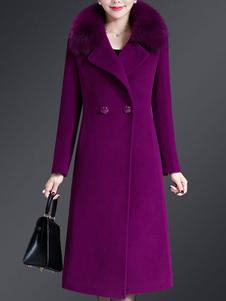 المرأة معطف الظلام البحرية كي طوق أزرار الأكمام الطويلة الطبقات التفاف معطف الرجعية
