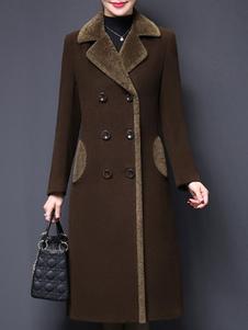 Пальто для женщины отложным воротником пуговицы ретро кофе коричневое шерстяное пальто