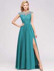 Платье невесты шифон линии иллюзия шеи без рукавов длиной до пола, свадебное платье выпускного вечера
