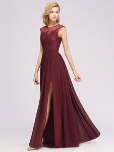 Платья подружки невесты Line Иллюзия шеи Длина пола молния Матовый шифон свадебное платье