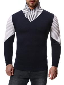 Свитера мужские с высоким воротником Цвет блока Зимний пуловер Трикотаж