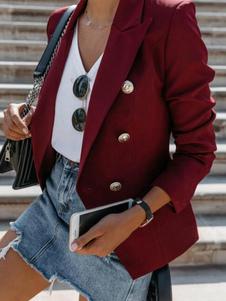 Blazer para mulheres moda botões de abertura de cama mangas compridas