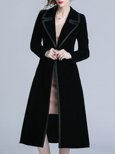 Пальто женское Черное V-образное вырез с длинными рукавами пуговицы Классическое пальто макси