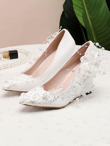 Sapatos de casamento Sapatos de noiva com salto apontado Toe Wedge com flores