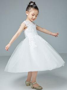 Платья для девочек-цветочниц Драгоценная шея Полиэстер Хлопок без рукавов длиной до колен Принцесса Силуэт Вышитые детские платья для вечеринок