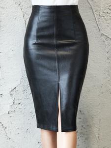 النساء تنورة سوداء سبليت الجبهة بو الجلود طول الركبة الخريف والشتاء قيعان النساء