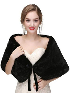 Faux Fur Wedding Shawl Shrug Envoltura nupcial para el invierno
