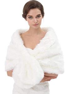 Casamento Faux Fur Cape Wrap inverno xale Poncho